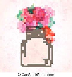 Watercolor art painted of beautiful flower in jar. Watercolor still life painting of flowers in vase.