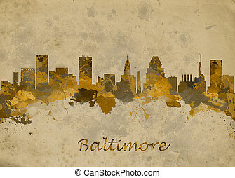 Baltimore USA - Watercolor art print of the skyline of ...