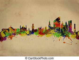 Watercolor art print of the Skyline of Den Haag Netherlands