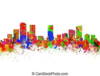 Denver Colorado USA - Watercolor art print of the Skyline of...