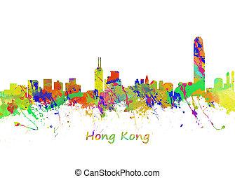 Hong Kong - Watercolor art print of the Skyline of Hong Kong
