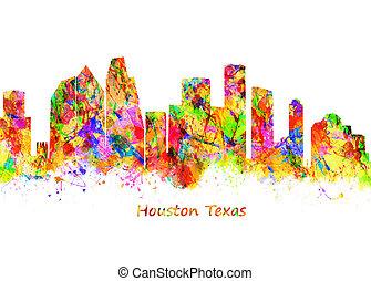 Houston Texas - Watercolor art print of the Skyline of ...
