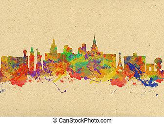 Watercolor art print of the skyline of Las Vegas Nevada City...