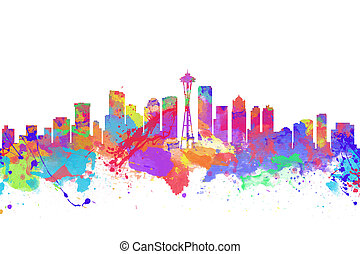 Watercolor art print of the skyline of Seattle United States...