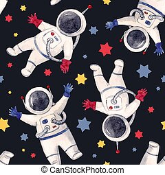 Watercolor astronaut pattern