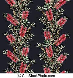 Watercolor australian callistemon seamless pattern - ...