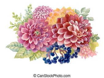 Watercolor autumn garden blooming flowers illustration isolated on white background.