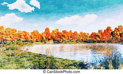 Watercolor autumn landscape on a forest lake shore