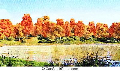 Watercolor autumn landscape on a forest lake shore - Digital...