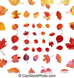 Watercolor autumn leaf set on white background