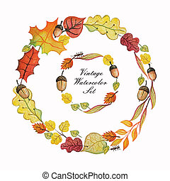 Vintage Watercolor autumn wreath. Colored branches, leaves, acorn set. Hand drawing isolated objects on white background. Autumn harvest illustration. Objects allocated in the path