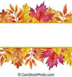 Watercolor autumn leaves frame - Beautiful frame with ...