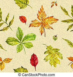 Watercolor autumn seamless background with bright leaves