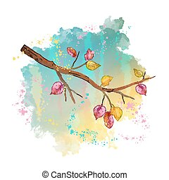 Watercolor autumn tree branch