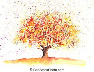 Watercolor autumn tree