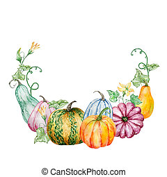 Watercolor autumn wreath with pumpkin