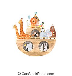Watercolor baby Noah Ark - Beautiful baby vector ...