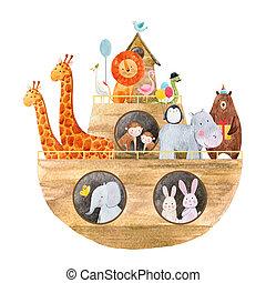 Watercolor baby Noah s Ark - Beautiful baby illustration ...