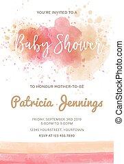 watercolor, baby, prachtig, douche, uitnodiging