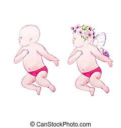 Watercolor baby vector illustration