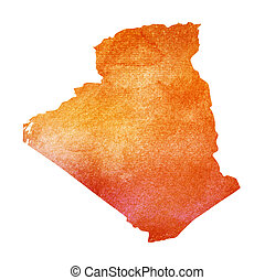 Watercolor background as silhouette. Algeria