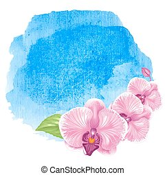 Watercolor background - Blue sea ocean fresh watercolor...