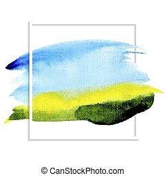Watercolor background blue sky green field