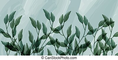 Watercolor background of branches with green leaves