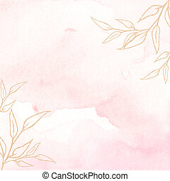 Watercolor background texture soft pink and gold.