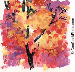 Watercolor background with autumn tree leaves.