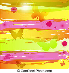Watercolor background with butterfl