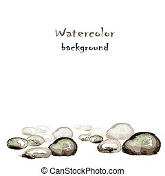 Watercolor background with stones on white