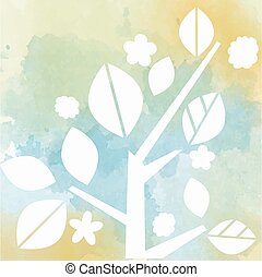 watercolor background with tree