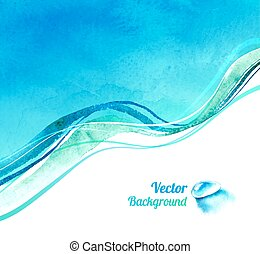 Watercolor background with waves.