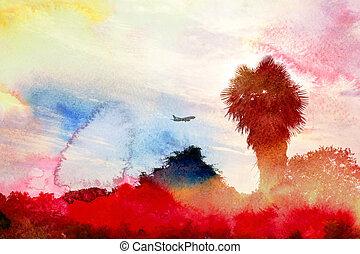 watercolor, baggrunde, hos, håndflade træ