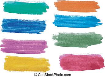 watercolor, bannere, sæt