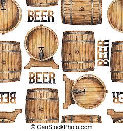 Watercolor barrels of beer