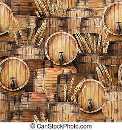 Watercolor barrels of beer in the front and side views. Hand...