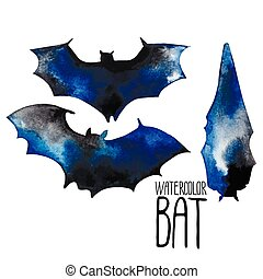Watercolor bat silhouettes