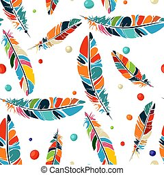 Watercolor beads and feathers pattern