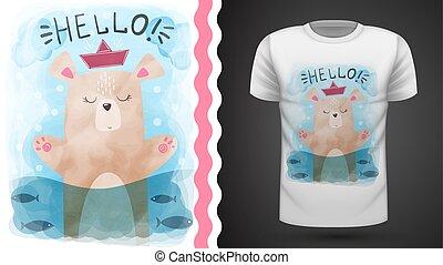 Watercolor bear - idea for print t-shirt.