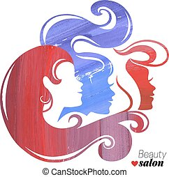 Watercolor beautiful girl silhouettes. Vector illustration
