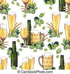 Watercolor beer pattern
