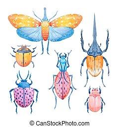 Watercolor beetle vector set