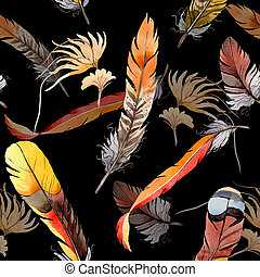 Watercolor bird feather pattern from wing.