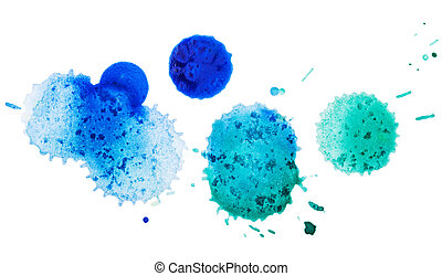 watercolor blobs, isolated on white background