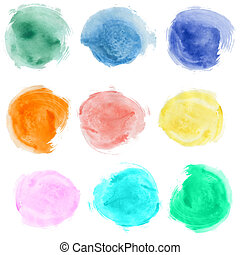 Set of watercolor blobs, isolated on white background