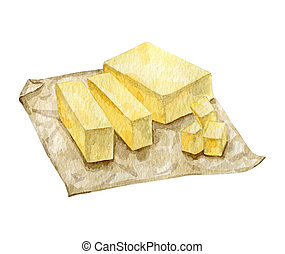 Watercolor block of milky butter. High quality illustration ...