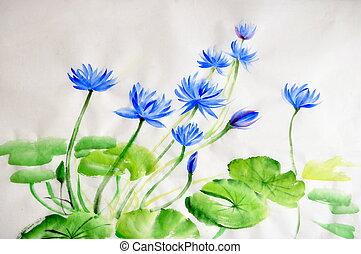 watercolor, bloem, schilderij, nymphea