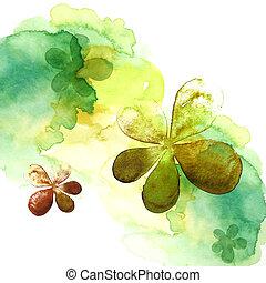 watercolor, bloem, schilderij